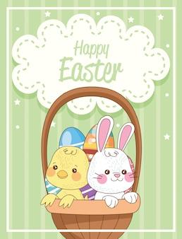 Carta di pasqua felice con coniglio e merce nel carrello del pulcino