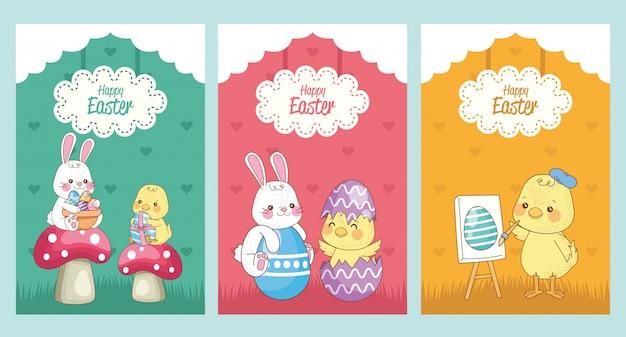 Carta di pasqua felice con il gruppo di pulcini e conigli di bambino