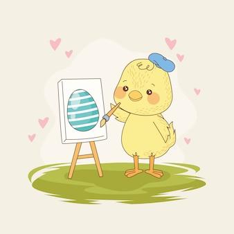 Carta di pasqua felice con l'uovo della pittura del pulcino del bambino
