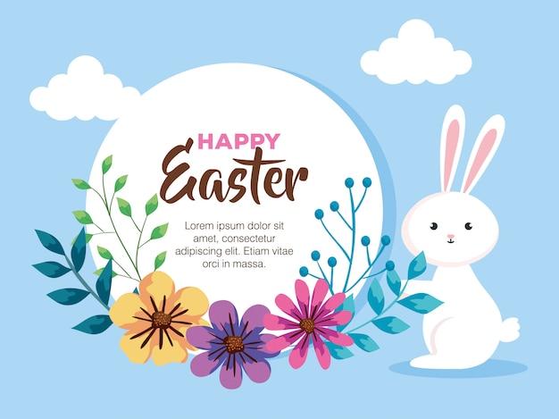 Carta di pasqua felice con la decorazione dei fiori e del coniglio