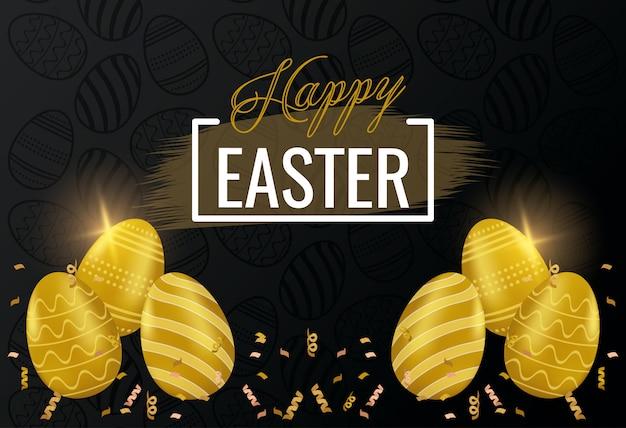 Carta di pasqua felice con lettere e uova dorate dipinte