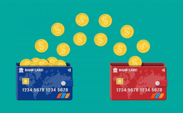 Carta di plastica bancaria per trasferimento di denaro con carta. internet banking, pagamento e scambio contactless e wireless, transazioni finanziarie in rete. illustrazione in stile piatto