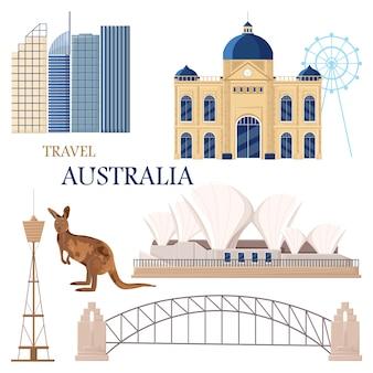 Carta di punti di riferimento di viaggio in australia