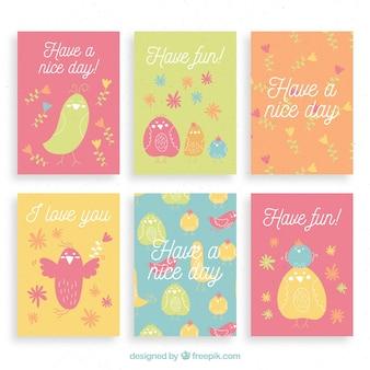 Carta di raccolta con uccelli colorati