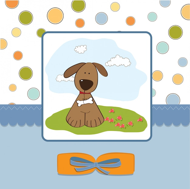 Carta di romantico baby shower con cane