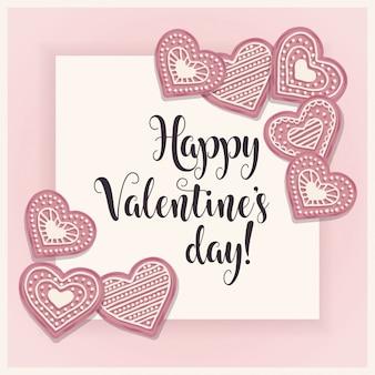 Carta di san valentino con biscotti pik
