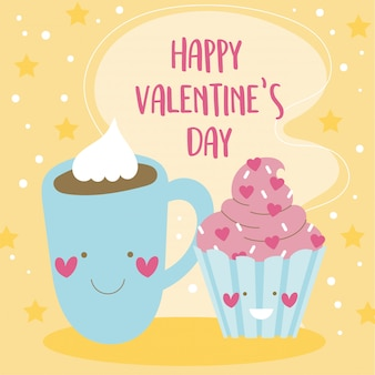 Carta di san valentino con cioccolato e cupcake kawaii