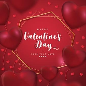 Carta di san valentino con cornice dorata
