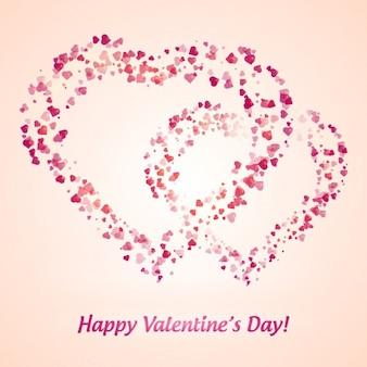 Carta di san valentino con cuori realizzati con cuori rosa