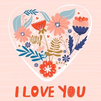 Carta di san valentino con fiori a forma di cuore.