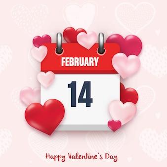 Carta di san valentino con icona del calendario e cuori