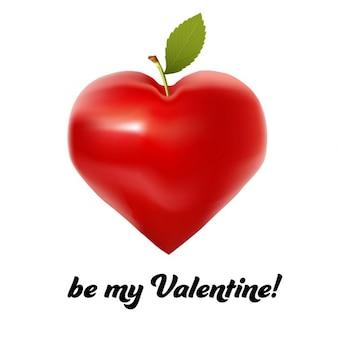 Carta di san valentino con la mela in forma di cuore