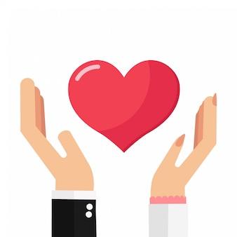Carta di san valentino con le mani maschili e femminili