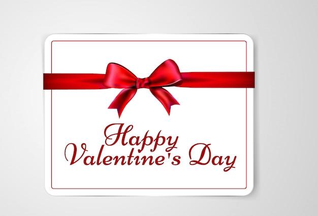 Carta di san valentino con nastro e fiocco