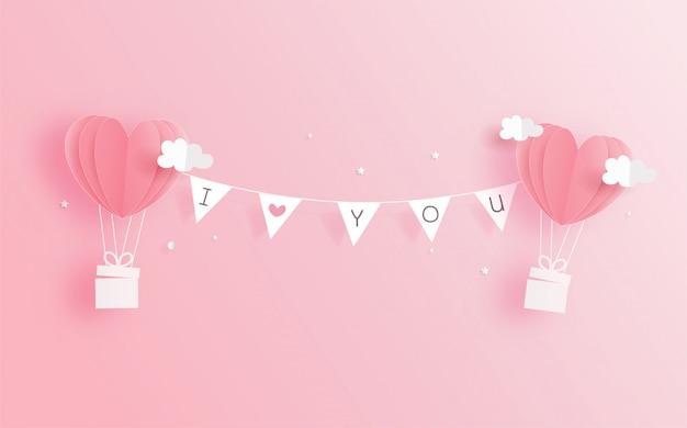 Carta di san valentino con palloncini a cuore in stile taglio carta. illustrazione vettoriale