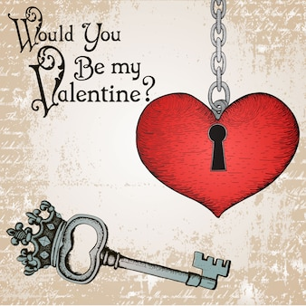 Carta di san valentino con un cuore e la chiave d'epoca