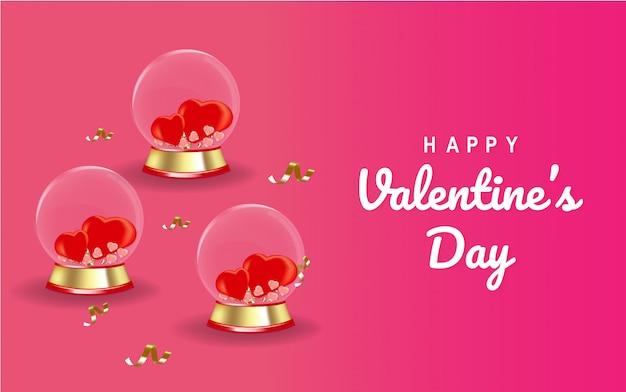Carta di san valentino con vetro globo.
