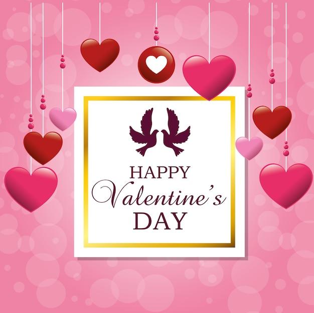 Carta di san valentino felice con coppia di uccelli carini in amore