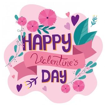 Carta di san valentino felice con decorazione di fiori