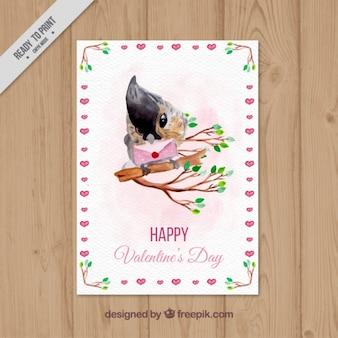 Carta di san valentino felice con l'uccello acquerello