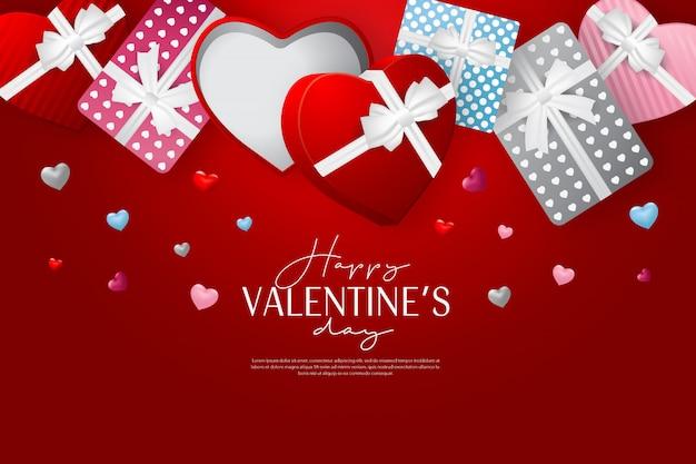 Carta di san valentino felice con regalo aperto su sfondo rosso