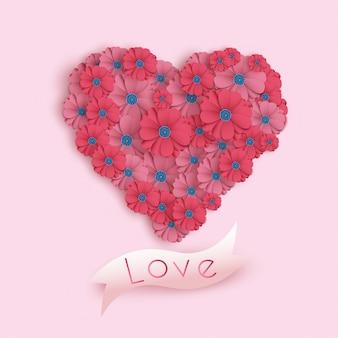 Carta di san valentino felice in stile arte carta. banner festa con fiori di carta. illustrazione festiva