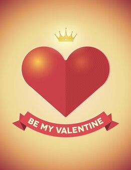 Carta di san valentino vintage con cuore