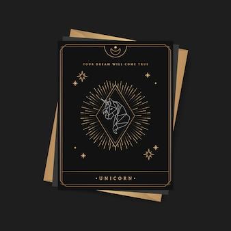 Carta di tarocchi astrologica unicorno geometrica