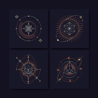 Carta di tarocchi di simboli astrologici geometrici