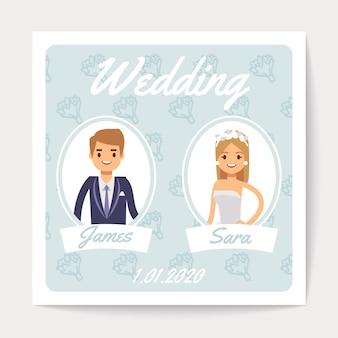 Carta di vettore dell'invito di nozze con coppia sposata felice