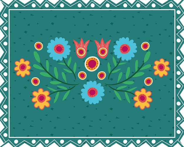 Carta dia de los muertos con decorazioni floreali