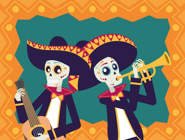 Carta dia de los muertos con teschi di mariachis che suonano chitarra e tromba