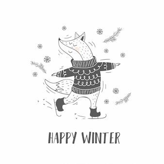 Carta disegnata a mano di volpe animale carino inverno