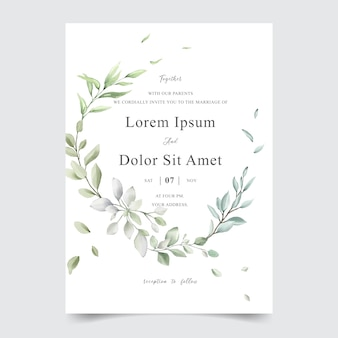 Carta elegante modello di invito di nozze fogliame dell'acquerello
