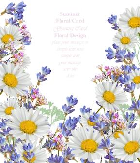 Carta estiva di camomilla e lavanda illustrazione di sfondo vettoriale