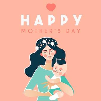 Carta felice di festa della mamma con il bambino felice della tenuta della donna