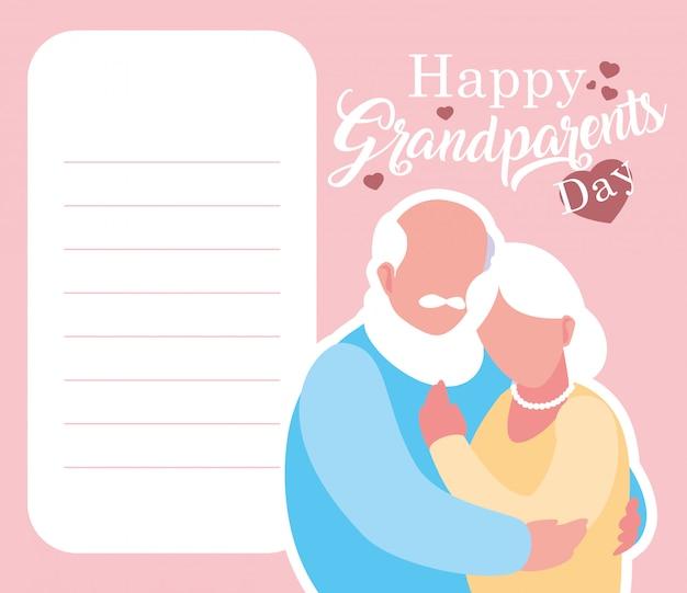 Carta felice di giorno dei nonni con le vecchie coppie abbracciate