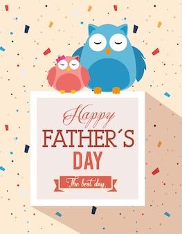 Carta felice di giorno di padri con progettazione dell'illustrazione di vettore dei gufi