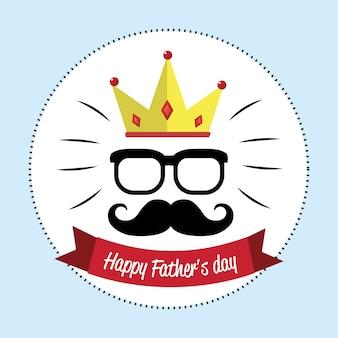Carta felice giorno padre con i baffi