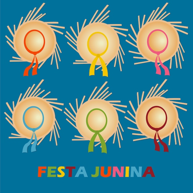Carta festa junina con cappelli tradizionali.
