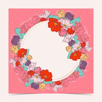 Carta floreale con cornice circolare
