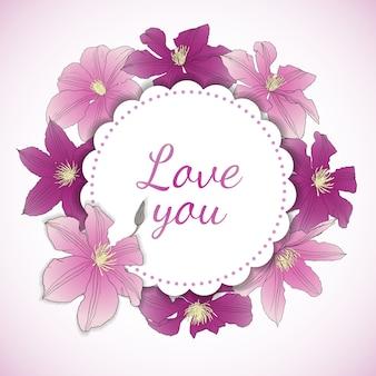 Carta floreale con fiori di clematide.