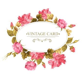 Carta floreale vintage con rose e fiori selvatici