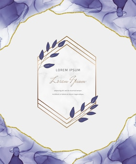 Carta glitter inchiostro viola alcool con foglie e cornici geometriche in marmo. fondo dipinto a mano astratto.