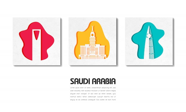 Carta globale di viaggio e di viaggio del punto di riferimento dell'arabia saudita con il modello del testo
