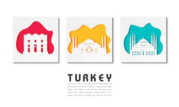 Carta globale di viaggio e di viaggio del punto di riferimento della turchia con il modello del testo