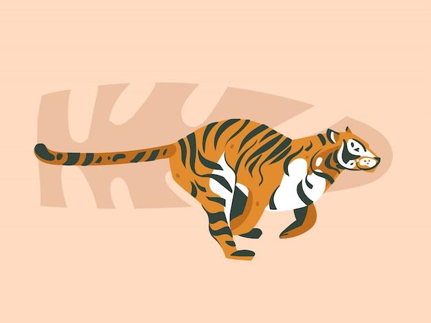 Carta grafica moderna disegnata a mano di arte astratta delle illustrazioni del collage di concetto di safari nature del fumetto astratto con l'animale della tigre e le foglie di palma tropicali isolate sul fondo di colore pastello