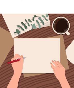 Carta in bianco del modello sullo scrittorio con la mano che tiene una sfera per scrivere. felice giornata internazionale del hander sinistro. situazione della scrivania. sfondo stile piatto.