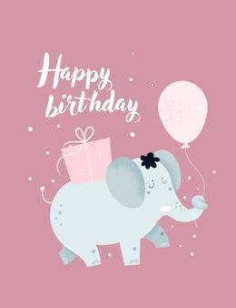 Carta infantile di buon compleanno, poster con elefantino carino e scatole regalo
