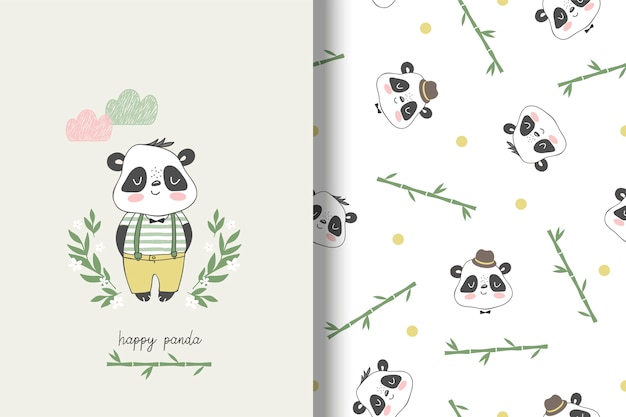 Carta infantile panda e senza cuciture